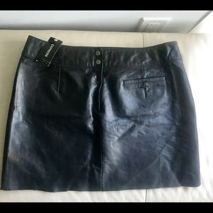 NWT Express Black Genuine Leather Mini Skirt
